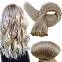 Full Shine Human Hair Clip In Extensions Natural Hair Clip Ins 18 Inch Ash Blonde Highlighted Yellow Blonde 18/613 Double Weft Clip In Extensions Remy Hair Clip Extensions 100 Gram 7 Pcs Per Set