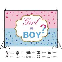 Baocicco 5x3ft Girl or Boy Backdrops Gender Reveal Question Photography Backgrounds Baby Shower Pink and Blue Dots Boy or Girl Touchdowns or Tutus He or She Photo Studio Video Shooting Props Booth