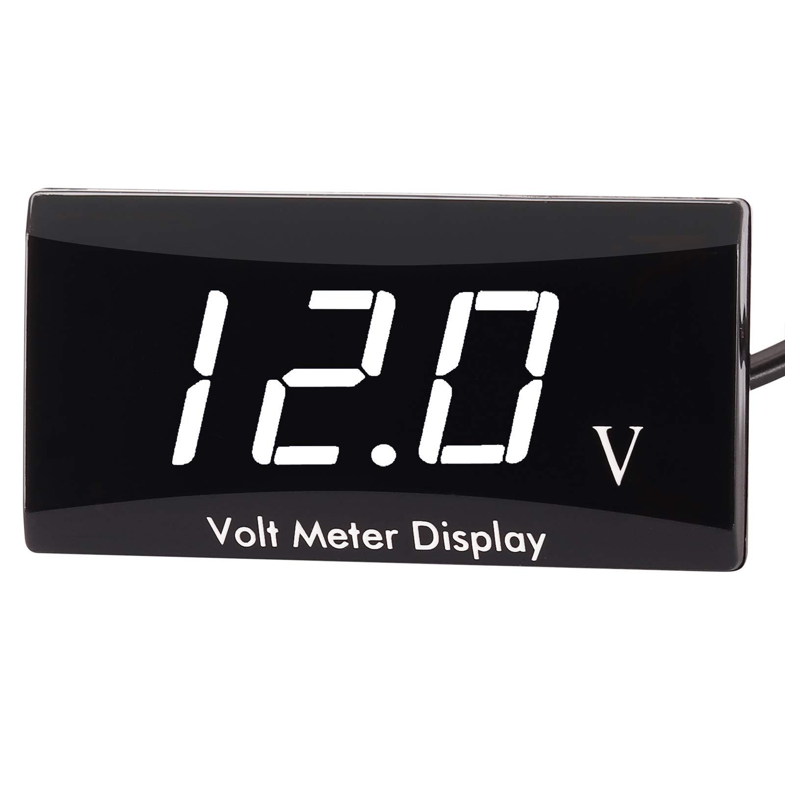 [Upgraded Version] Kinstecks Motorcycle Voltmeter DC 12V Digital Voltmeter Gauge LED Display Voltage Meter for Motorcycle Car Battery Voltage Monitor-White