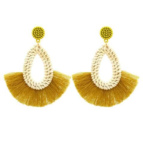Dangle earrings Summer Print earrings  Boho Earrings Print earrings Fringe earrings Handwoven earrings Plated earring Green earrings