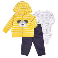 Gorboig Baby Boy Clothes Hooded Jacket Bodysuit Pant Set 3PCS Outfit