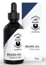 Vanilla Beard Oil – All Natural Leave In Conditioner enhanced with Organic Argan & Jojoba Oils – Large 2oz Size – Softens, Strengthens, Hydrates for Healthy Beards and Mustaches