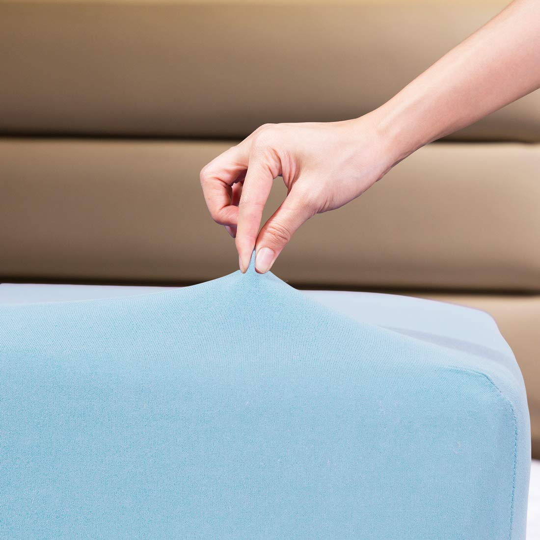 """COSMOPLUS Fitted Sheet Queen Fitted Sheet Only(No Flat Sheet or Pillow Shams),4 Way Stretch Micro-Knit,Snug Fit,Wrinkle Free,for Standard Mattress and Air Bed Mattress from 8"""" Up to 14"""",Baby Blue"""