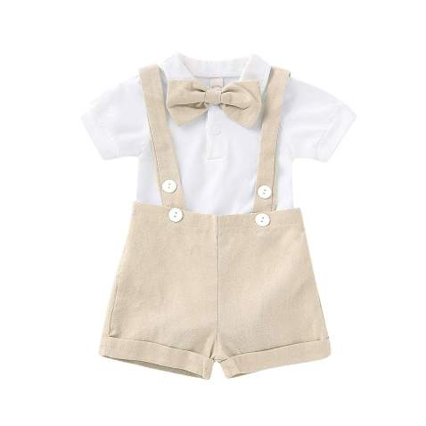 Gentleman Outfits Set for Baby Boys Short Sleeve Romper with Tie and Overalls Bib Pants Clothing Set