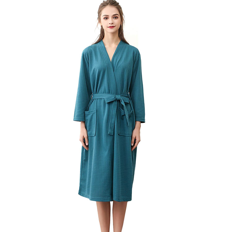 DREAM SLIM Long Lightweight Waffle Bathrobes Spa Robes Sleepwear for Women