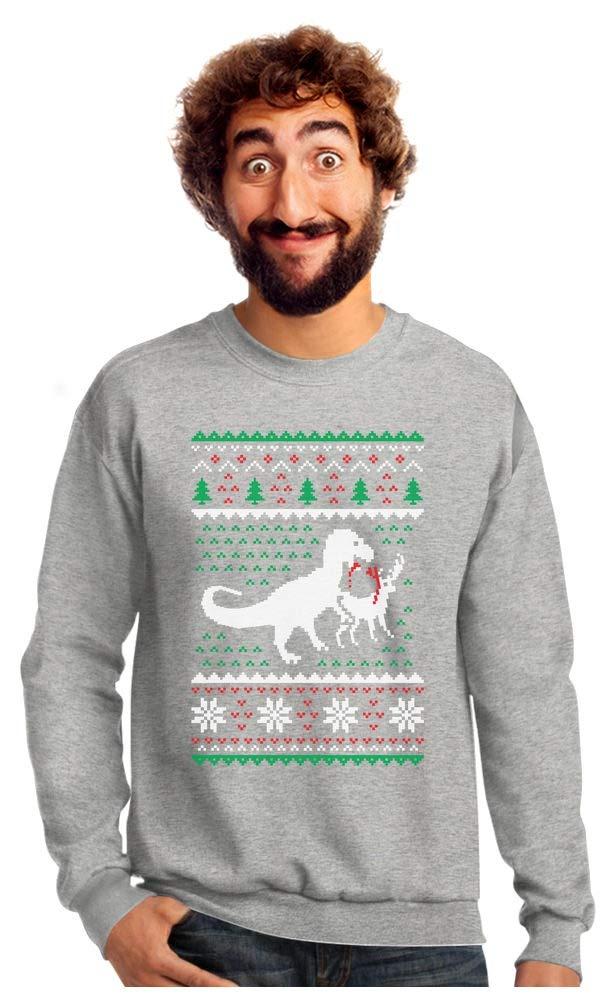 T-Rex Biting Reindeer Ugly Christmas Sweatshirt with Xmas Prop
