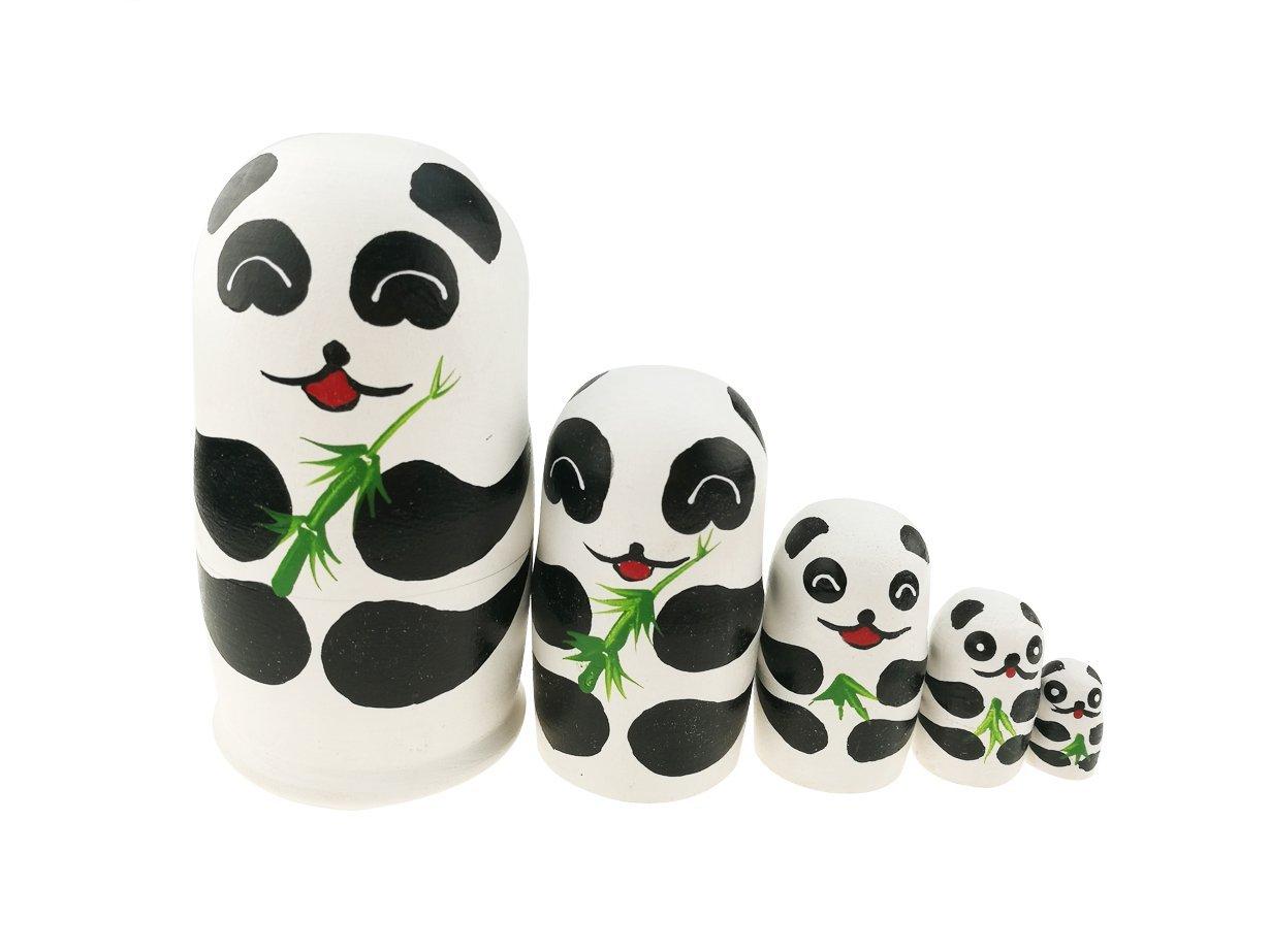 "Winterworm 5.1"" Cartoon Panda Russian Wooden Nesting Dolls for Kids Handmade Paints Stacking Toys Matryoshka Dolls 5 Pieces Panda Bear Party Supplies Cultural Keepsakes"