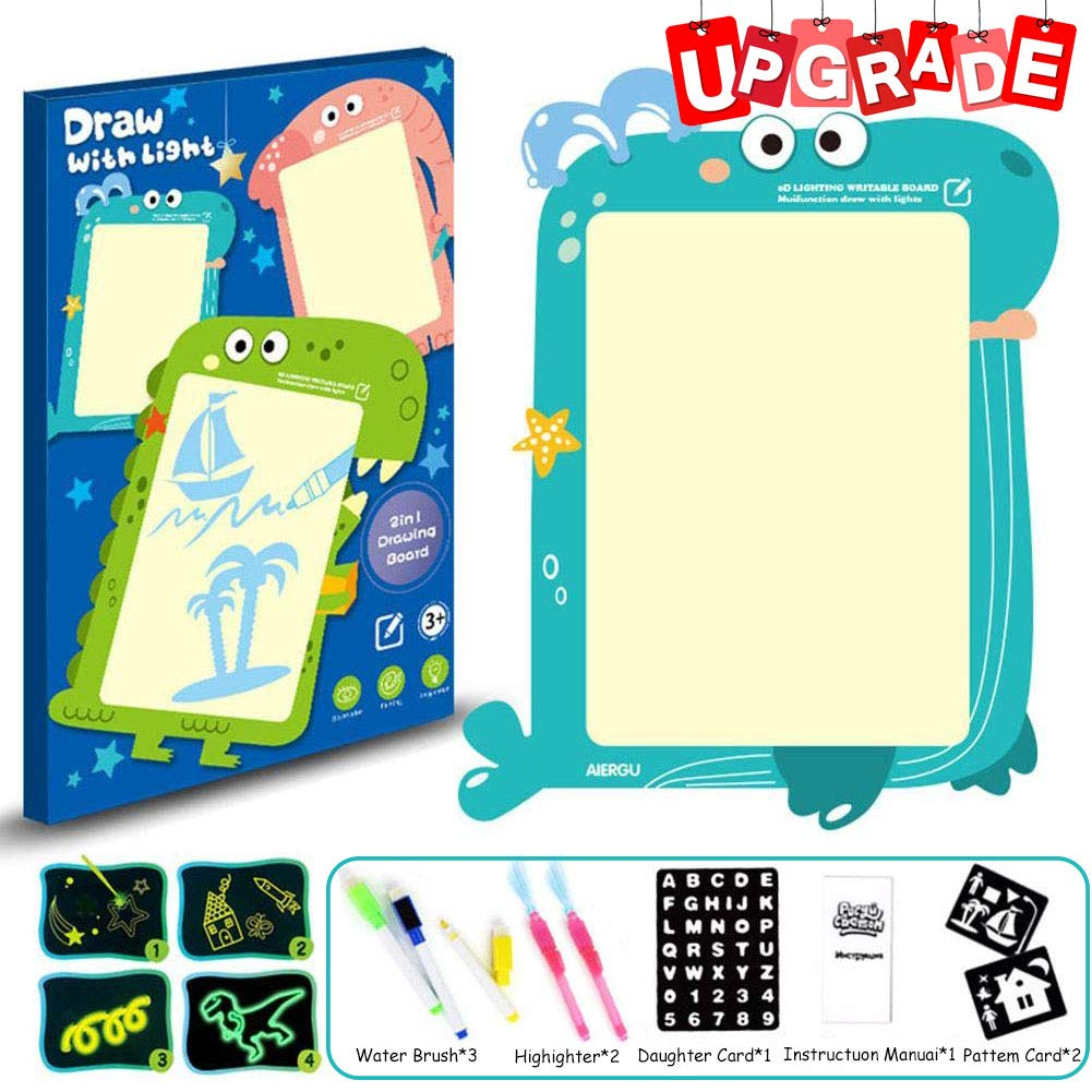 Farielyn-X Draw with Light-Fun Drawing Board Pad Tablet for Kids- Painting Board Educational Toy - Doodstage Light Drawing Fun and Developing Toy Luminous Drawing 2 in 1 Board Set (Whale- A3 Size)