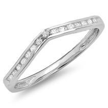 Dazzlingrock Collection 0.10 Carat (Ctw) 10K Gold Round Diamond Ladies Anniversary Wedding Stackable Contour Guard Ring 1/10 CT