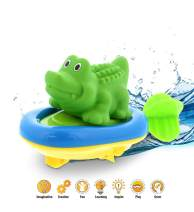 DolliBu Boat Racer Buddy, Fun Educational Bath Toy Finger Puppet Pull and Go Water Racing Jungle Pal for Shower Pool Bathtub Swim Hard Surfaces for Baby Toddler and Boy - 6 Inch - 3 in 1 - Alligator