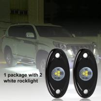 Auto Safety LED Rock Light Off-road Truck Boat Under body Glow Trail Rig Lamp Waterproof (White-2pods)