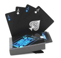 BeeSpring Waterproof PVC Playing Cards Set Pure Color Black Poker Card Classic Magic Tricks Tool, 54pcs/Deck