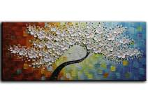 YaSheng Art -100% Hand-Painted Contemporary Art 3D whit Flowers Oil Painting On Canvas Texture Palette Knife Tree Paintings Modern Home Interior Decor Abstract Art Paintings Large Canvas Art 24x60inch