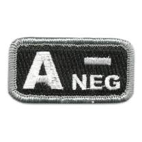 "Tactical Blood Type Patches -""Type A Negative"" - 2""x1"""