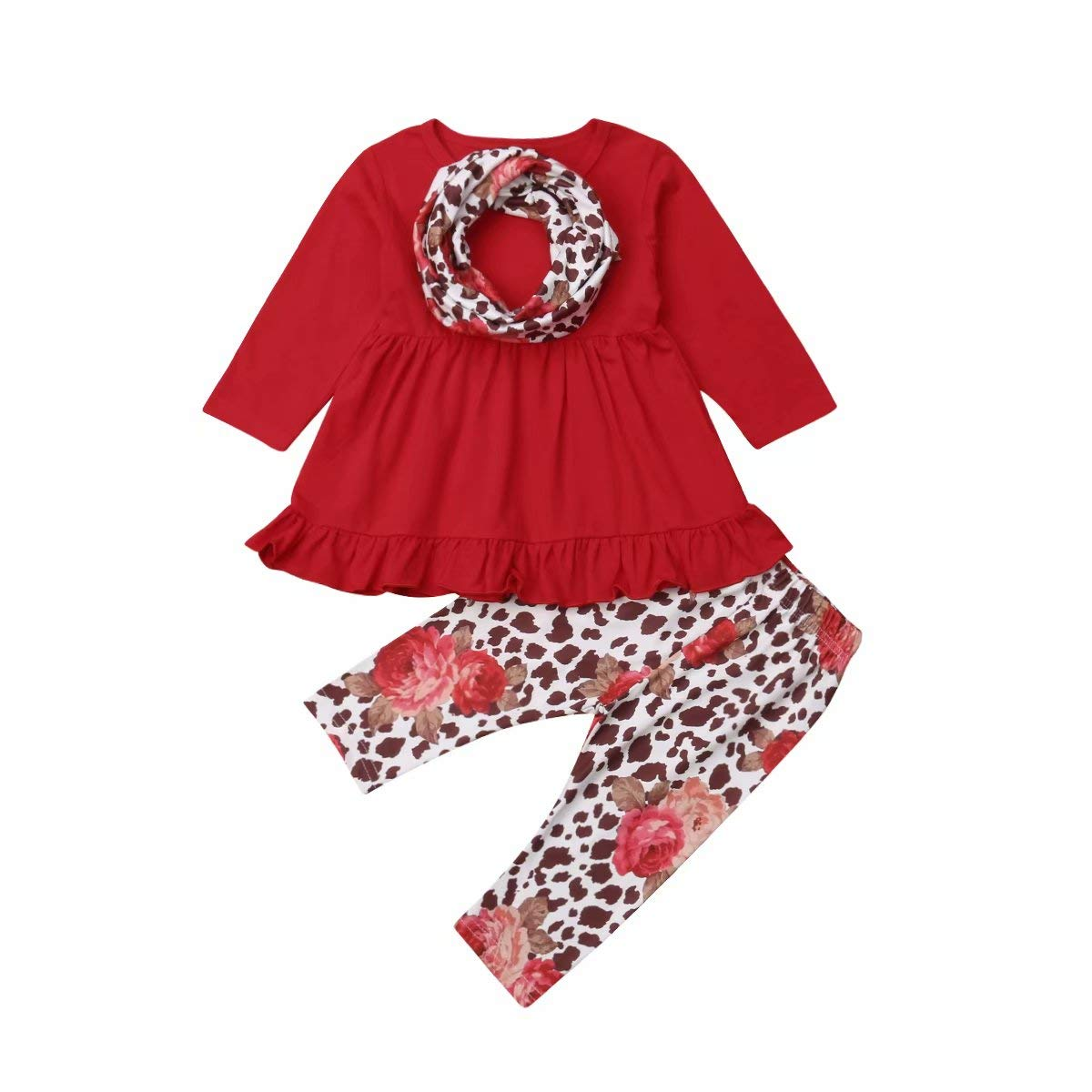 Kids Toddler Baby Girl Clothes Long Sleeve Tunic Dress Top Leopard Leggings Pants Headband 3Pcs Outfit Set