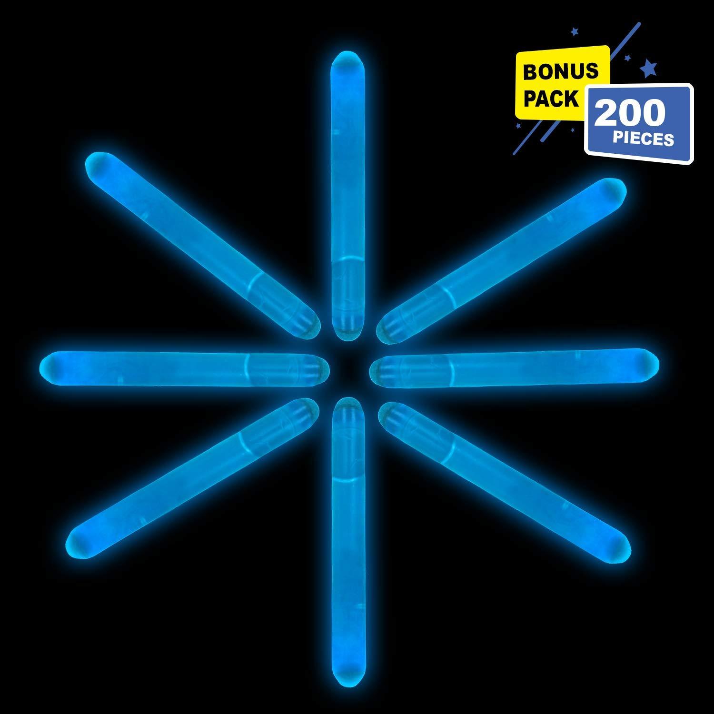 Lumistick 2 Inch Mini Glowsticks - Ultra Bright Glow in The Dark Party Favors Neon Light Sticks - Freshly Made Illuminating Water Proof Fluorescent Sticks Brightest 4-6 hrs (Blue, 200 Glow Sticks)