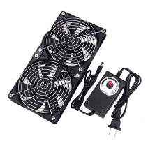 GDSTIME Big Airflow Dual 120mm Fans DC 12V Powered Fan with AC 110V - 240V Speed Control, Cabinet Chassis Cooling Fan, Server Workstation Cooling Fan
