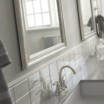 "Delta AFMRM1-NSH-R Wall Mount Vanity, Bedroom or Bathroom Mirror, Hangs Horizontal or Vertical, 28""x36"" Framed Flush Mount Rectangular Mirror, Standard Glass, Vintage Nickel Frame"