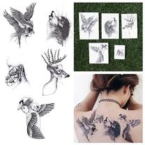 Tattify Surreal Animal Drawing Temporary Tattoos - Part of Her (Set of 10 Tattoos - 2 of each Style) - Individual Styles Available - Fashionable Temporary Tattoos