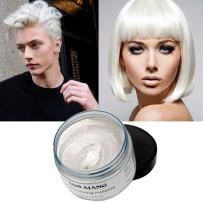 White Hair Color Wax Temporary Hairstyle Cream 4.23 oz Pomades for Women Men Kids Natural White Hairstyle Wax for Party Cosplay Halloween Date (White)