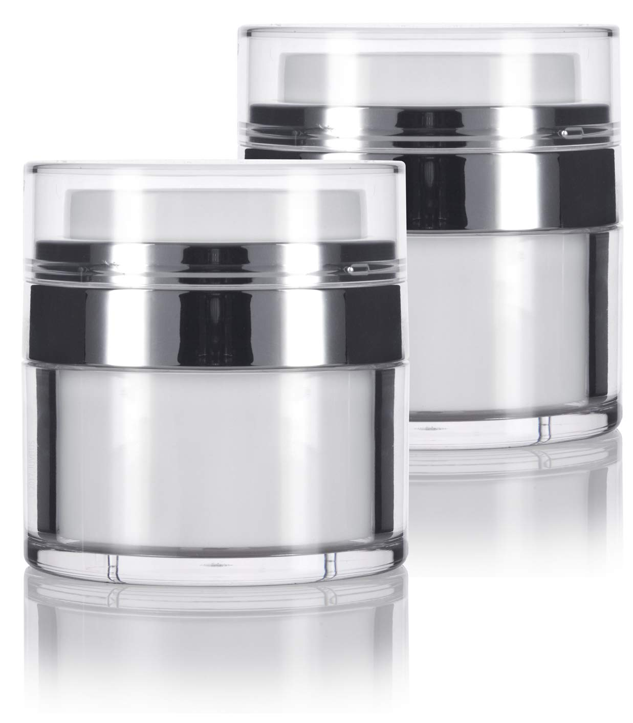 0.50 oz / 15 ml White Airless Refillable Jar (2 PACK) keeps out air changing oxidation from your skin care products - durable, leak proof, and shatterproof for home or travel
