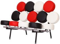 MLF Nelson Marshmallow Sofa (7 Colors). Imported Italian Leather, Comfortable, Solid, Durable, Artistic, Easy Cleaning & Interchanged, Floor Protector Pads Adjustable.(White/Cream + Black + Red)