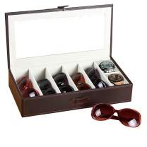 Glasses Organizer Leather Transparent 7 Slots Sunglasses Box for Men Women Multiple Eyeglasses Holder Eyewear Storage Display Case for Home Decoration/Nightstand/Bedside/Beside Table/Dresser Top Brown