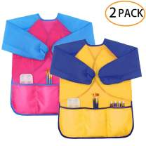 Zkptops 2 Pack Kids Art Smock Colorful Waterproof Children Art Aprons Artist Painting Aprons with Long Sleeve 3 Roomy Pockets for Age 3-8 Years,Yellow and Pink