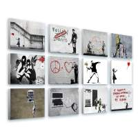 """Alonline Art - Always Hope Flower Thrower TV Girl by Banksy   print on canvas   Ready to frame (synthetic, Rolled)   16""""x12"""" - 41x30cm   Set of 12 Lot   Wall art home decor for office oil painting"""