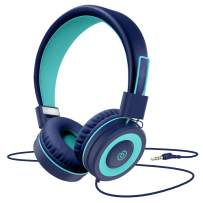 Kids Headphones,Besom i66 for Boys Girls Teens Children Toddler Stereo Adjustable Foldable Tangle-Free Cord 3.5mm Jack Wired Over-Ear Headset for iPad iPhone Computer MP3/4 Kindle Tablet(Blue)