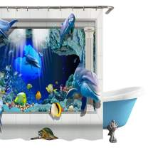 "Surblue 3D Ocean Dolphin Shower Curtain with Hooks,Waterproof Machine Washable,70"" Long"