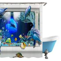 """Surblue 3D Ocean Dolphin Shower Curtain with Hooks,Waterproof Machine Washable,70"""" Long"""