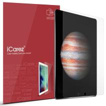 iCarez [Anti Glare Matte Screen Protector for Apple 12.9-inch iPad Pro (2015 2017 Model) [ Unique Hinge Install Method with Kits ] Easy Install [2-Pack] - Retail Packaging