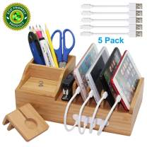 Pezin & Hulin Bamboo Charging Station, Multiple Devices Organizer for Phones,Tablet, Office Desktop Wooden Docking Stations (Include 5 x Charger Cable), Storage Box Stand for Pen, Key, Remote