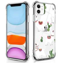 RicHyun Cactus Case for iPhone 11, Clear Llama Pattern Soft Flexible TPU Shockproof Case for iPhone 11 2019