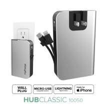 myCharge Portable Charger with Built in Cables [iPhone Lightning + Micro USB] 10050 mAh Hub Classic Ultra Slim Power Bank External Battery Pack - AC Wall Charger Plug, Dual Cords, USB-A Output Port
