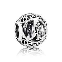NINGAN Letter Alphabet Charm 925 Sterling Silver A-Z Bead Fits Pandora Bracelet Necklace