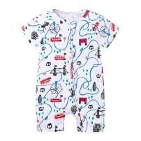 Feidoog Baby Boys and Girls' Summer Short Sleeve Pajama Cute Cartoon Romper Outfits