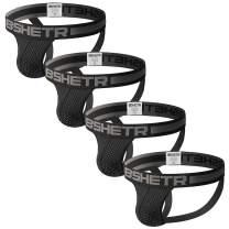 BSHETR Men's Jockstraps Athletic Supporters 4-Pack Mesh Work Out Underwear