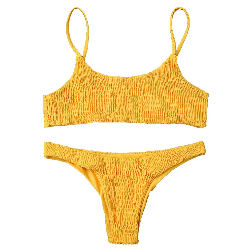 ZAFUL Women's Sexy Bathing Suit Solid Color Halter Shirred Bikini Swimsuit