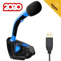 KLIM Voice - Gaming USB Desk Microphone for Computer - Compatible with PC, Laptop, Mac, PS4 - Professional Desktop Mic with Stand - Recording, Streaming, YouTube, Podcast Mics, Studio Microfono - Blue