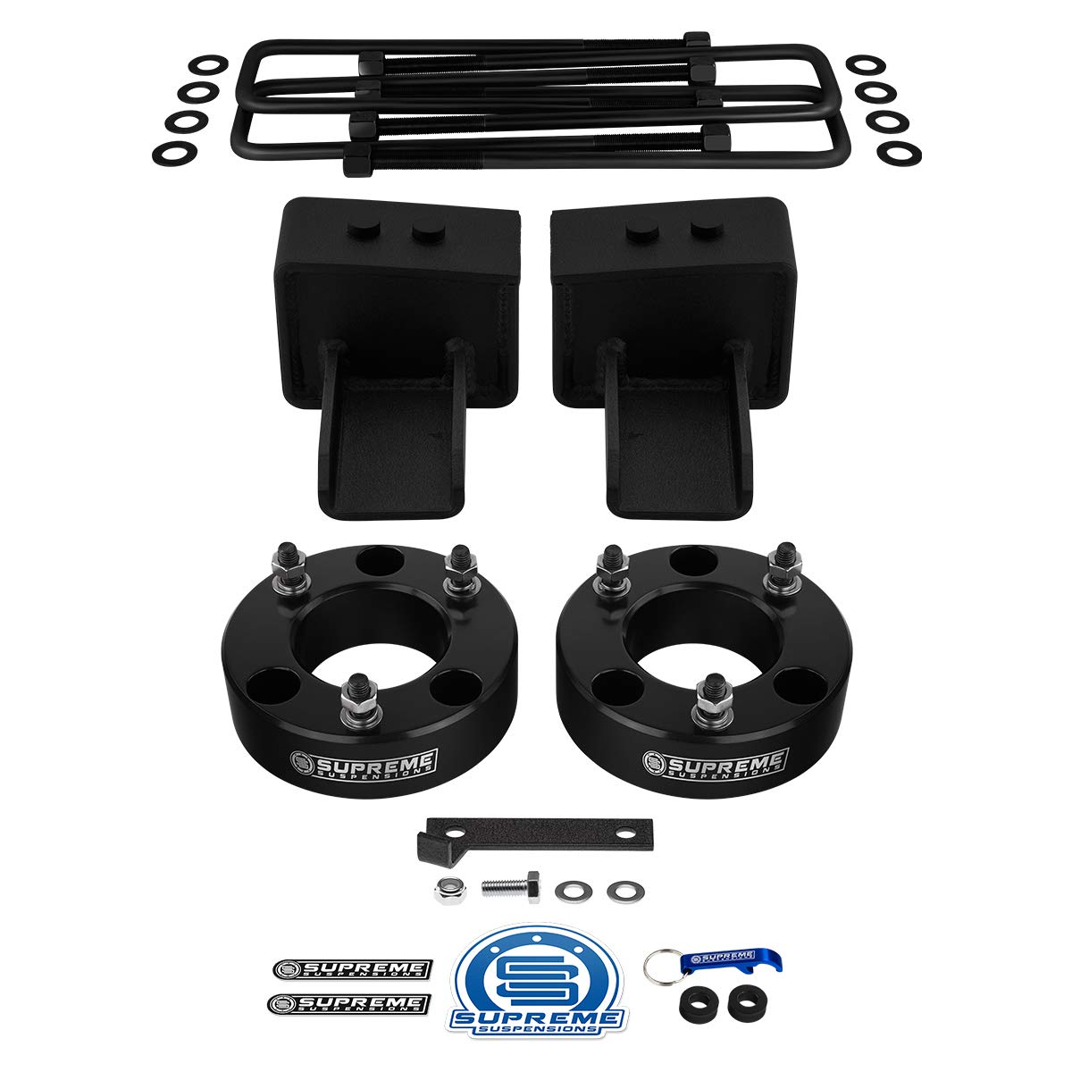 """Supreme Suspensions - Full Lift Kit for 2004-2020 Ford F-150 [4WD] 2.5"""" Front + 2.5"""" Rear Suspension Lift Kit (Black) 