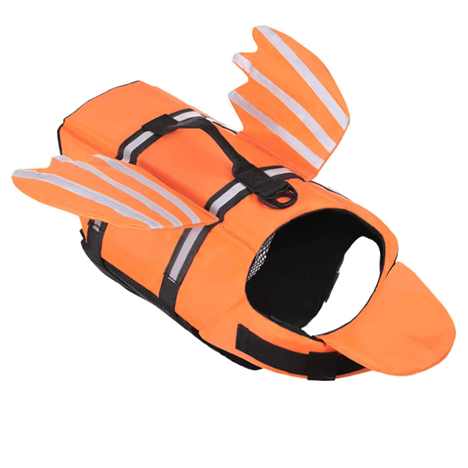 AOFITEE Dog Life Jacket Pet Life Vest, Reflective Safety Doggy Lifesaver Preserver with Lovely Wings and Rescue Handle, Ripstop Swimming Vest for Small Medium and Large Dogs (Orange S)