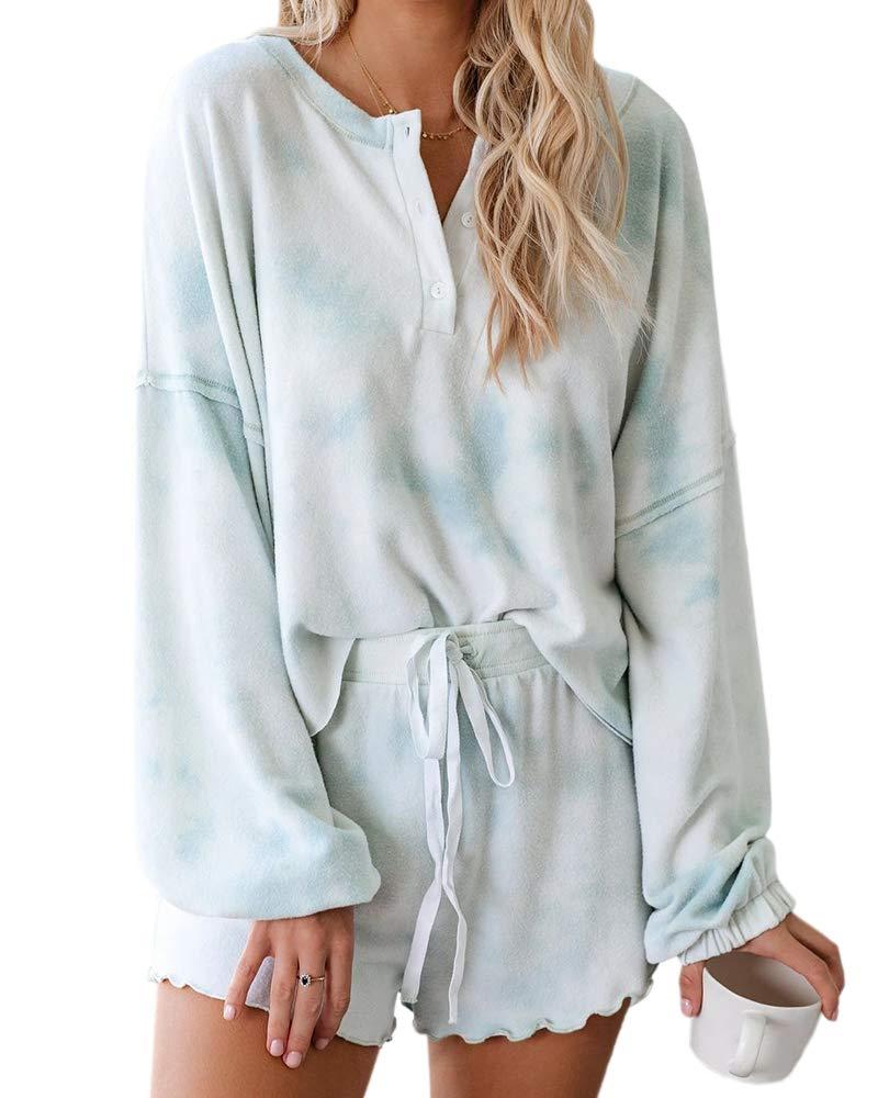 Womens Tie Dye Long Sleeve Pajamas Set Buttom Down Tops High Waisted Shorts PJ Sleepwear