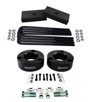 "American Automotive Full Lift Kit Compatible 2007-2018 Silverado & Sierra 1500 3"" Front Lift Strut Spacers + 1"" Rear Lift Blocks + Square Bend U-Bolts w/Differential Drop Kit 4WD (Black)"