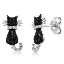 Gem Stone King Cat Stud Earrings 925 Sterling Silver Black and White Cubic Zirconia CZ Jewelry 0.54 Cttw 1/2 Inch