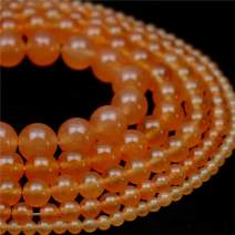 "Oameusa Natural Round Smooth 6mm Orange Chalcedony Agate Beads Gemstone Loose Beads Agate Beads for Jewelry Making 15"" 1 Strand per Bag-Wholesale"