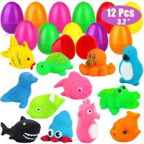 12 Pcs Prefilled Plastic Easter Eggs Filled with Toys Inside Easter Basket Stuffers for Toddlers Baby Boys Girls Kids Teens Easter Gifts