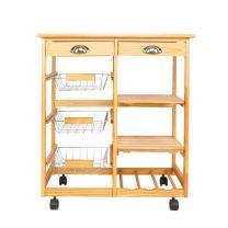 Teeker Rolling Wood Kitchen Island Storage Trolley Utility Cart Rack w/Storage Drawers/Baskets Dining Stand w/Wheels Countertop (Wood)