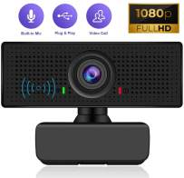 Webcam with Microphone HD 1080P Web Cam Mic for Laptop PC Mac Computer Camera USB Desktop Video Streaming Noise-Cancelling Gaming Skype Facetime YouTube Zoom Network Multi-System Compatible
